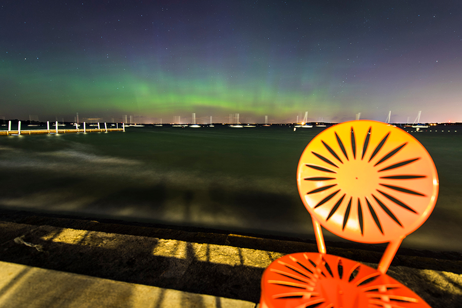 Lake Mendotar from the Memorial Union Terrace with Aurora Borealis,
