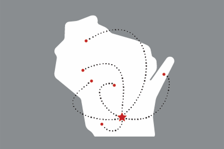 Image of WI with lines drawn from Madison to other areas of Wisconsin