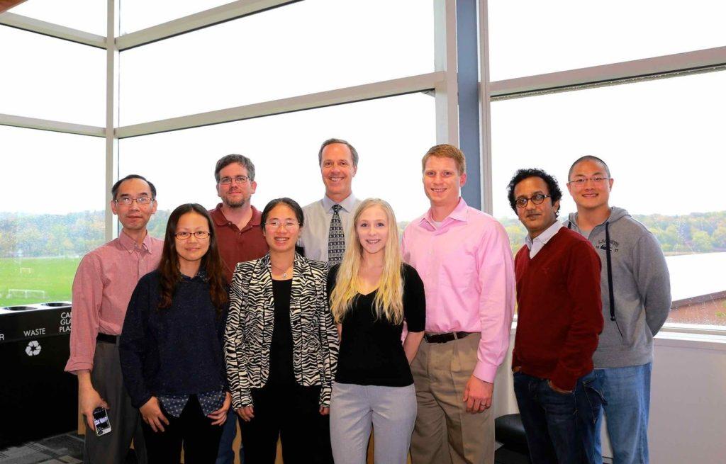 Harari Lab, 2014: L-R: Shyhmin Huang, Fang, Eric Armstrong, Chunrong Li, Paul Harari, Lauryn Werner, Zach Morris, Gopal Iyer, Dave Francis