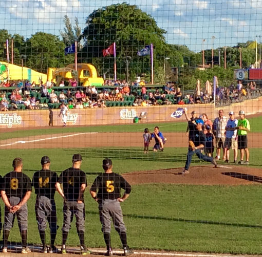 Harari Throws First Pitch - Mallards Game July 2016