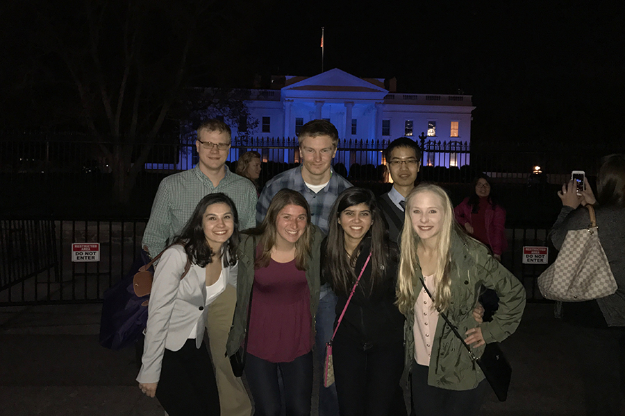 Kimple group shot in front of White House