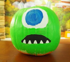 decorated pumpkin, green one eye