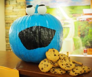decorated pumpkin, cookie monster