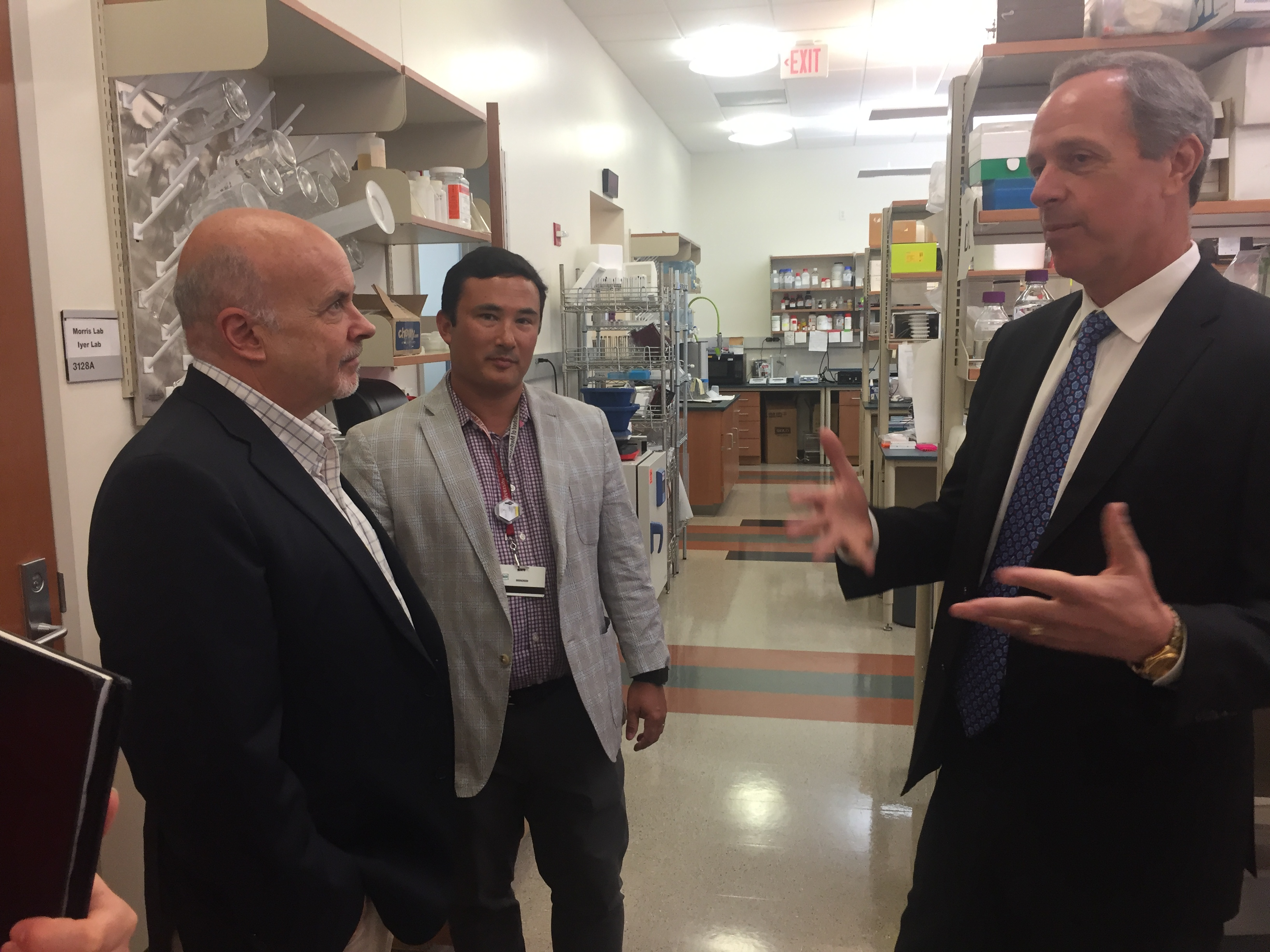 U.S. Rep. Mark Pocan talk with DHO Associate Professor Randy Simple and DHO Chairman Dr. Paul Harari