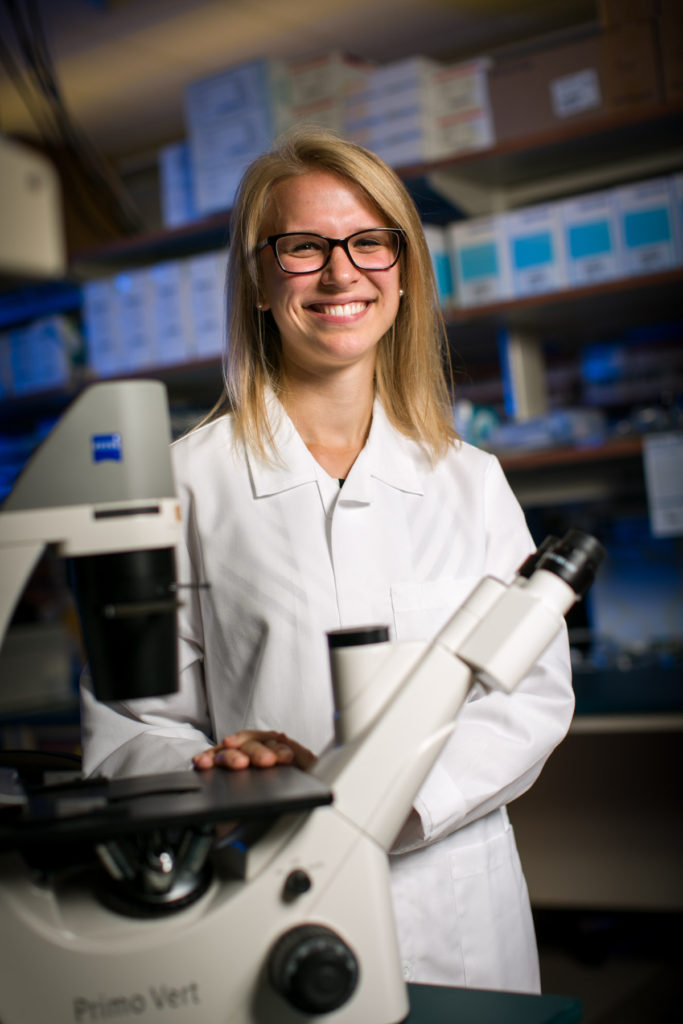 Claire Baniel, UW SMPH medical student in lab