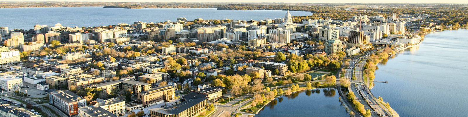 Aerial view of the Madison Isthmus with the capital